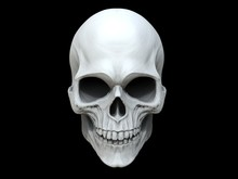 White Clay Skull - 3D Illustration