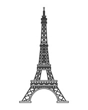 Flat Design Tour Eiffel Icon Vector Illustration