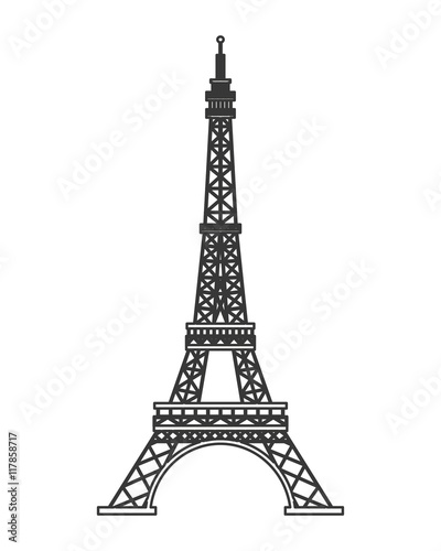 flat design tour eiffel icon vector illustration Canvas Print