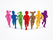 Children Running, Designed Using Colorful Grunge Brush Graphic Vector.
