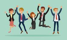Business People Jumping Celebrating Success Cartoon Illustration
