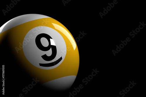Papel de parede  Pool Ball Number 9, 3D Rendering