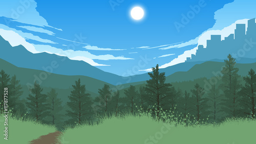 In de dag Olijf forest landscape illustration