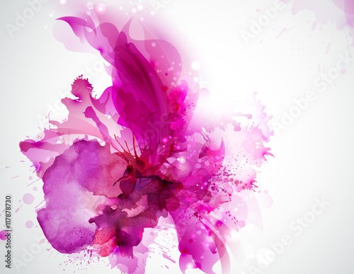 Poster Bloemen vrouw pink abstract stain