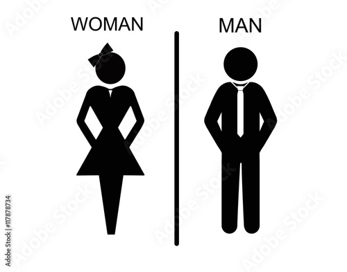 Vector man and woman icons, toilet sign, restroom icon, minimal style, pictogram Poster