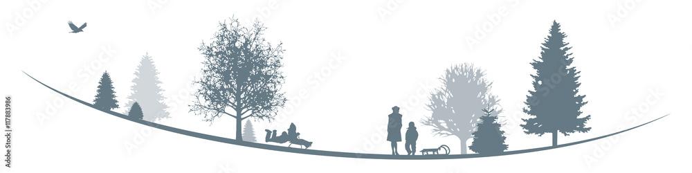 Winterliche Landschaft   Schlitten fahren im Park