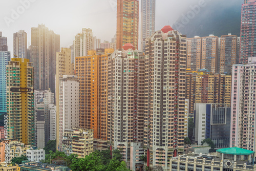 Photo  highrise residential apartments in the morning ,hong kong,china.