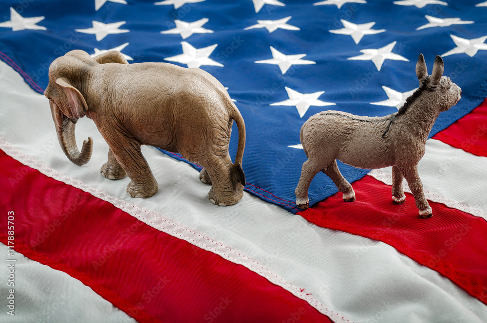 Fototapety, obrazy: Partisan politics of the democrats and republicans are creating a lack of bipartisan consensus. In American politics US parties are represented by either the democrat donkey or republican elephant