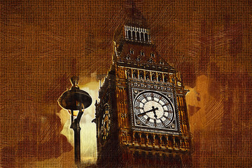 Panel Szklany Grunge London oil art illustration
