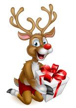 Santas Christmas Reindeer Holding A Gift
