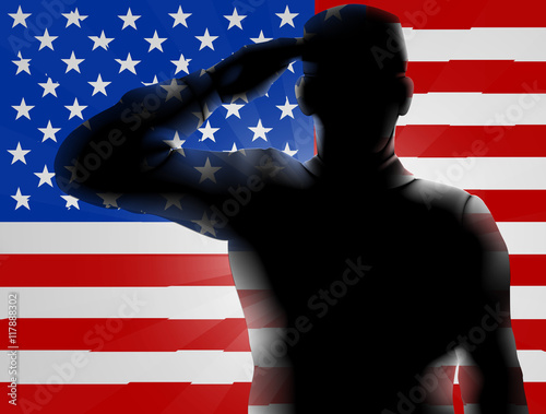 Canvas Prints Military Veterans Day Silhouette Soldier Saluting