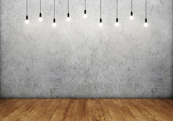 Fototapeta Industrialny Concrete wall with wooden floor and retro light bulbs
