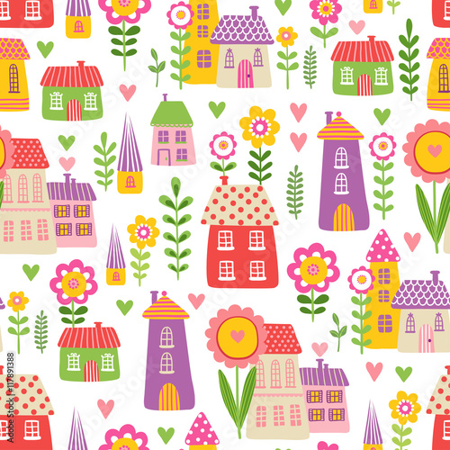 Cotton fabric Vector seamless illustration of a cute children s cartoon style houses in among the flowers on a beige background. The pattern of the houses and plants.