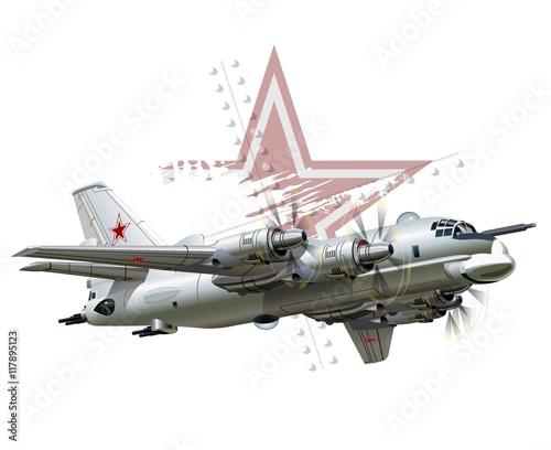 Vector Cartoon Bomber Fototapeta