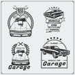 Collection of vintage muscle cars labels, badges and design elements. Car service labels.