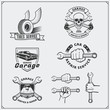 Set of car service labels, badges and design elements.