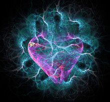 Amazing Abstract Computer-generated Red Heart In Blue Flames On Black Background