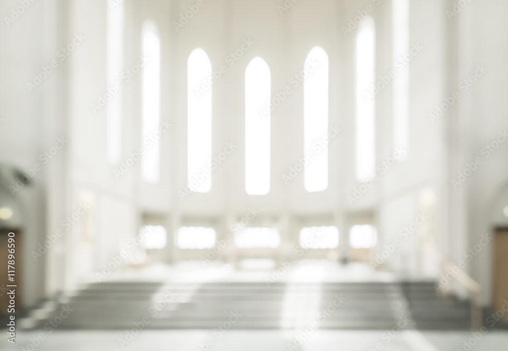 Fototapeta bokeh interior of modern  lutheran, christian church