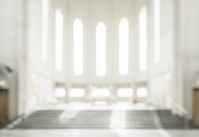 Bokeh Interior Of Modern  Lutheran, Christian Church