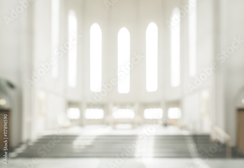 Canvas Print bokeh interior of modern  lutheran, christian church