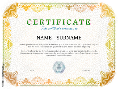 Certificate Template With Guilloche Elements Yellow Diploma Border