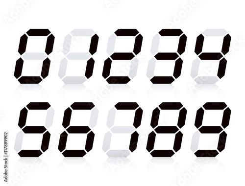 Fotografía  デジタル時計の数字(黒)