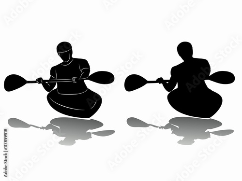 Valokuva  silhouette of kayaker , vector drawing
