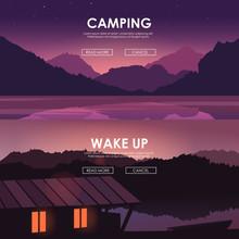 Evening Landscape On The River. Vector Illustration. Lake House