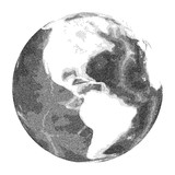 Globe with world ocean relief - vector stippled illustration. Views of America - 117906525