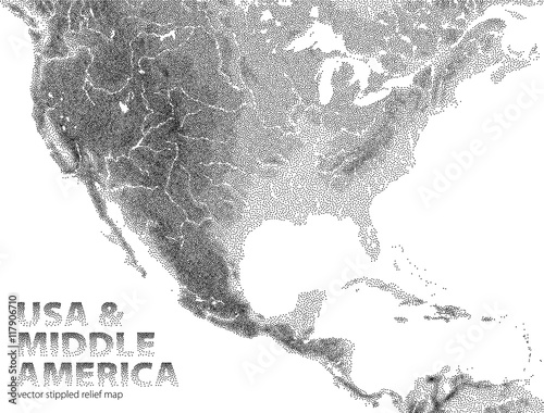 Fotografie, Obraz  Vector stippled relief map of USA and Middle America