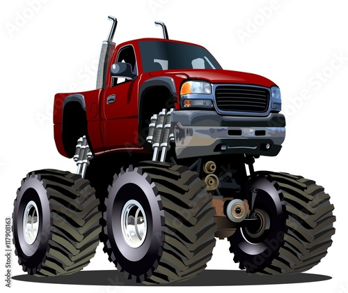 Cartoon Monster Truck. Available EPS-10 separated by groups and layers with transparency effects for one-click repaint - 117908163