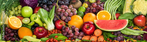 Staande foto Vruchten Fresh fruits and vegetables for healthy