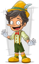 Cartoon Young Pinocchio With B...