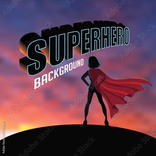 Superhero woman silhouette sunrise or sunset background with copy space Canvas Print