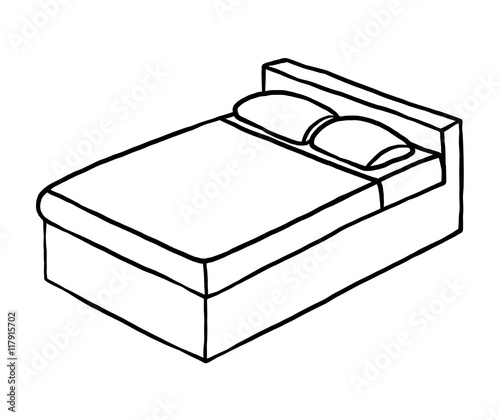 Double Bed Cartoon Vector And Ilration Black
