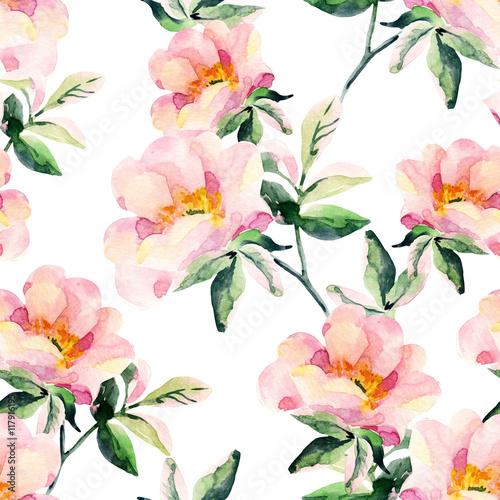 akwarela-kwiaty-wrzosca-bez-szwu-oddzialy-dog-rose