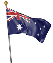 National Flag For Country Of Australia Isolated On White Background, 3D Rendering