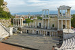 Rhodopes mountain and Ancient Roman theatre in Plovdiv, Bulgaria