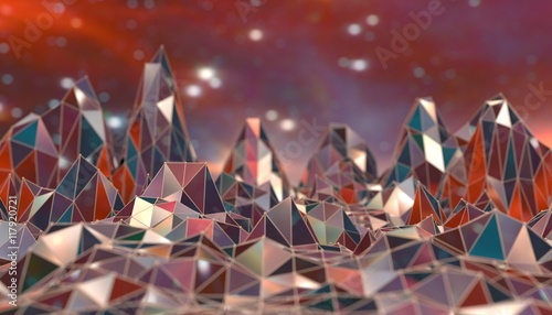 Fotobehang Bordeaux Low poly mountains landscape. Polygonal shapes peaks. 3d illustration. Polygonal mosaic background