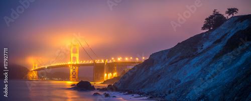Aluminium Prints Panoramic View of Golden Gate in Fog from Mashall Beach