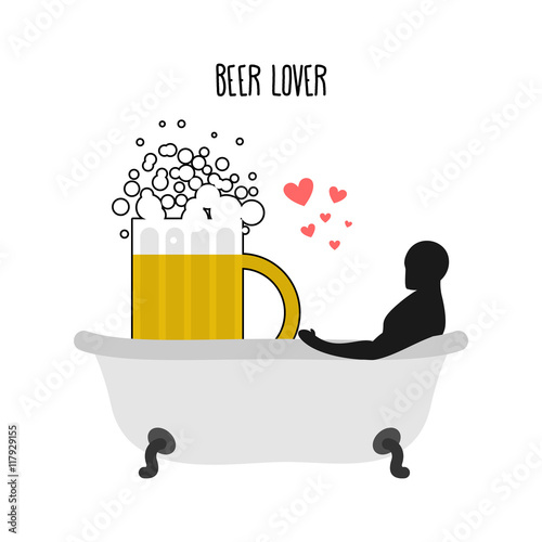 Cuadros en Lienzo Beer lover. Beer mug and man in bath. Joint bathing. Passion fee