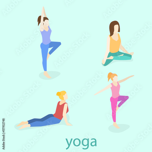 Cartoon Girl In Yoga Poses With Titles For Beginners Isolated On White Background Yoga Poses Infographic Elements With Captions Vector Illustration Buy This Stock Vector And Explore Similar Vectors At Adobe