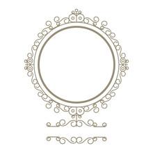 Flat Design Decorative Vintage Frame Icon Vector Illustration