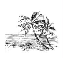 Vintage Seaside View Poster.