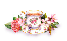Teacup And Tea Pot With Pink Flowers. Watercolor