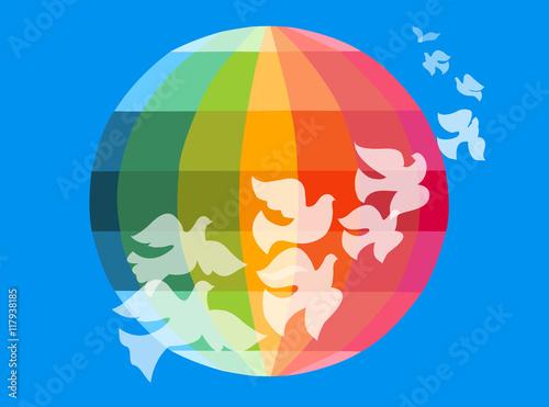 Foto  Multicolor globe and doves
