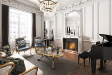 Luxury Upscale Elegant Interior Apartment With Piano ,fireplace And Chandelier . 3d Rendering