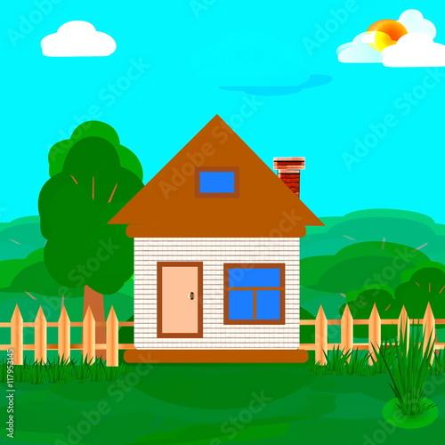 Spoed Foto op Canvas Turkoois иллюстрация домик летний пейзаж