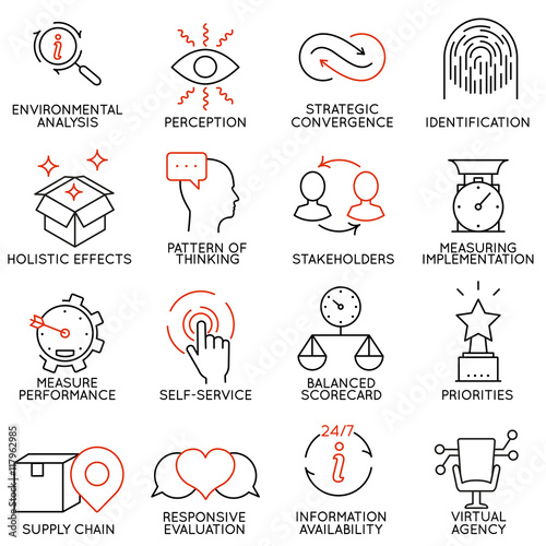 Fotografía  Set linear icons of business management, strategy, career progress and business people organization