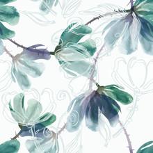 Watercolor Seamless Pattern Of Green Flowers